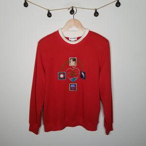Vintage Cat Ugly Christmas Sweater Mockneck Red 1X